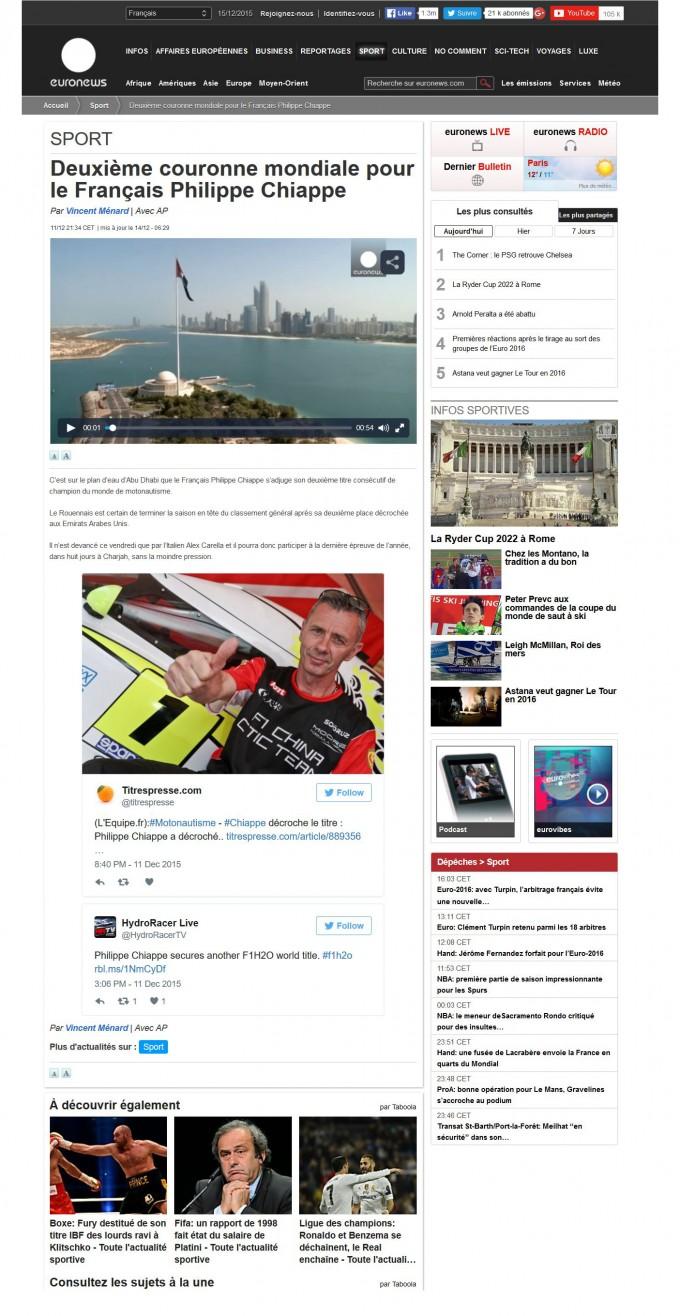Deuxième couronne mondiale pour le français Philippe Chiappe – Euronews
