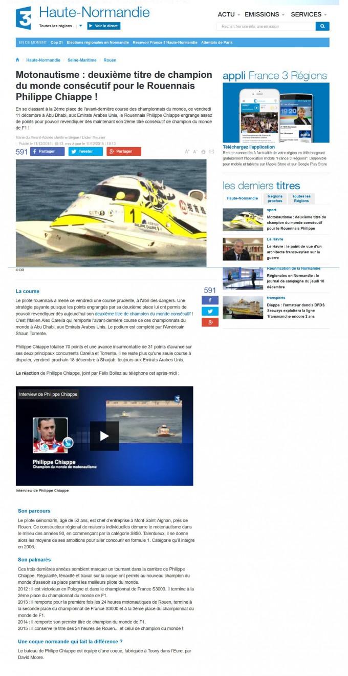 Deuxième titre de champion du monde consécutif pour le Rouennais Philippe Chiappe – France 3 Haute Normandie