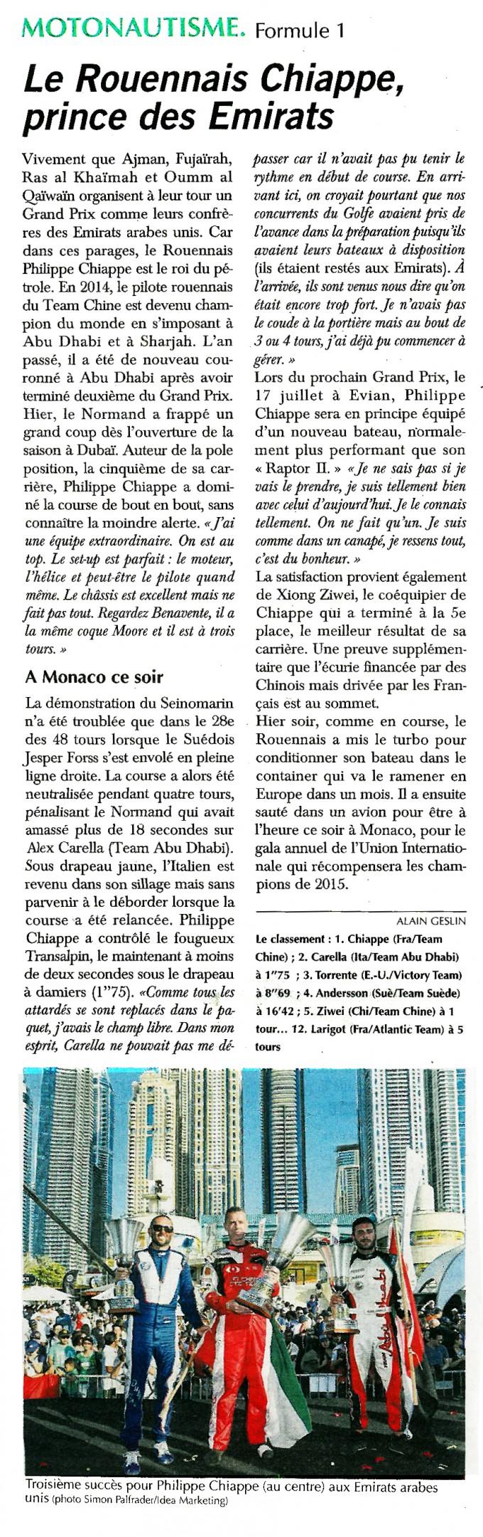 Le Rouennais Chiappe, prince des Emirats